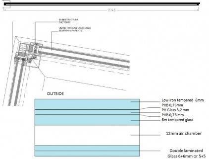 Details of glass configuration and installation on the supporting structure © Onyx Solar