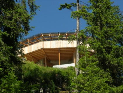 The solar canopy exposed on the wooded slope (Augustin Clement)