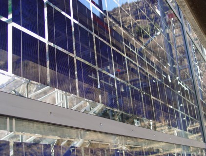 External view of the semi-transparent polycrystalline modules (Leitner Electro Srl)