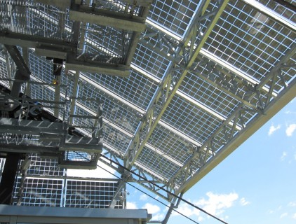 Steel trusses system supporting the BIPV plant (Leitner Electro Srl)