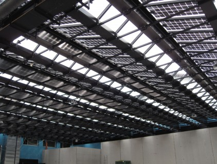 Detailed view of the BIPV plant bearing structure (Colterenzio Winery)