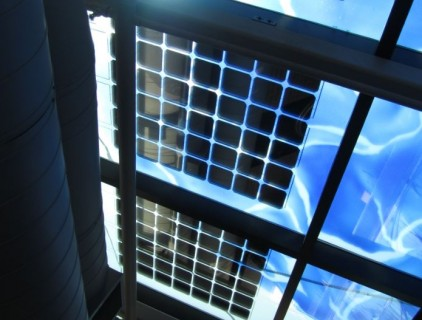 Interior view of the West-facing BIPV skylight incorporating the permanent art installation © Veronique Delisle, NRCan