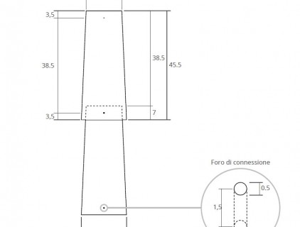 Technical detail with dimensions, the overlapping area and the connection hole.
